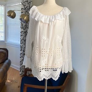 NWT Johnny Was Lilith Off Shoulder Eyelet Top